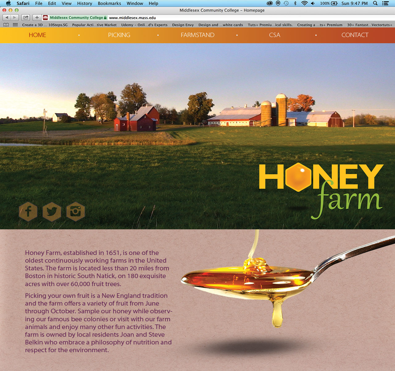 Homepage for Honey Farm