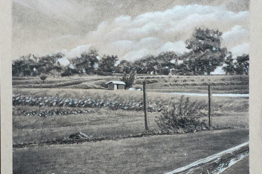 Drawing of farm landscape