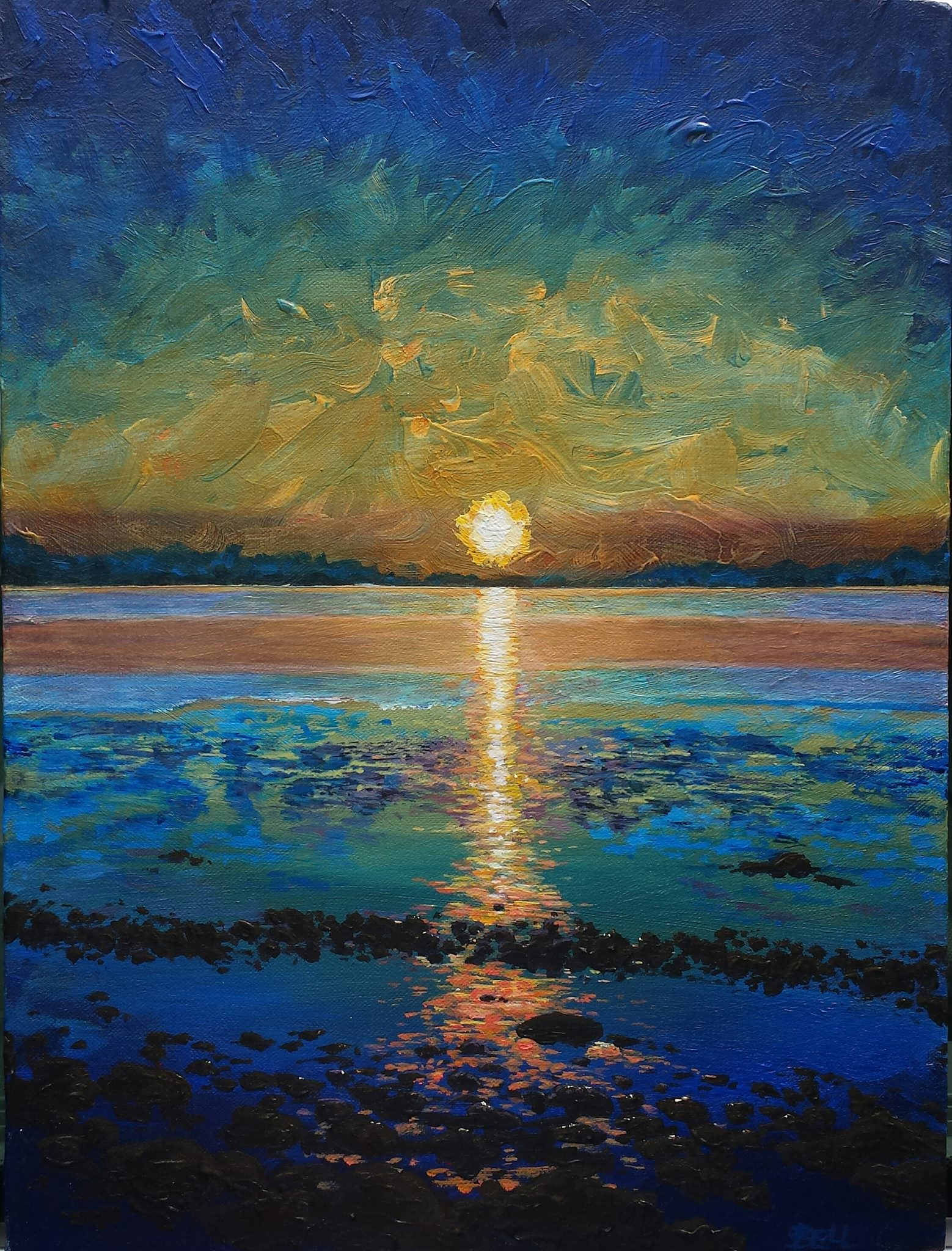 Painting of Nahant Sunset