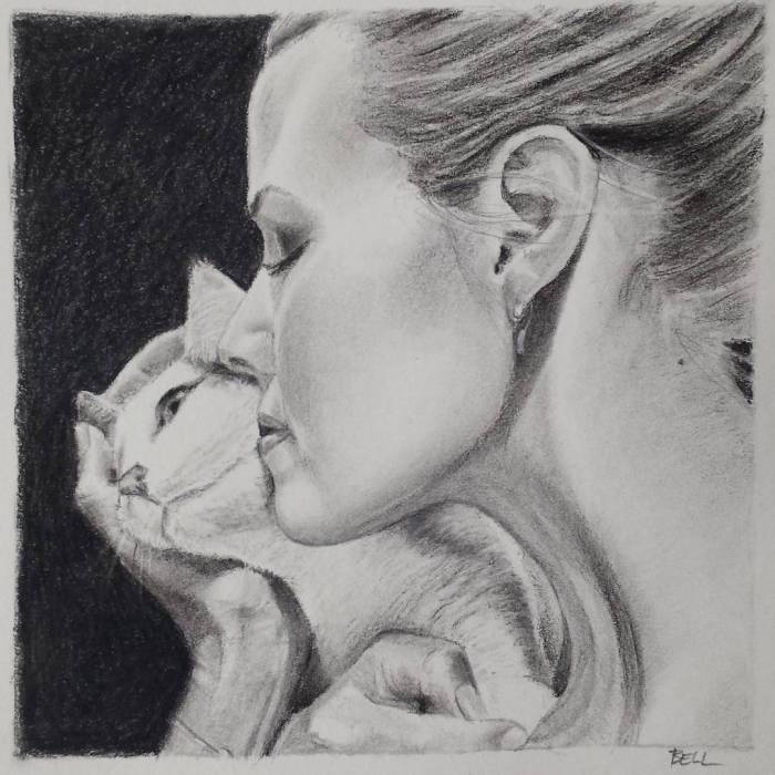 Drawing of Woman with Cat